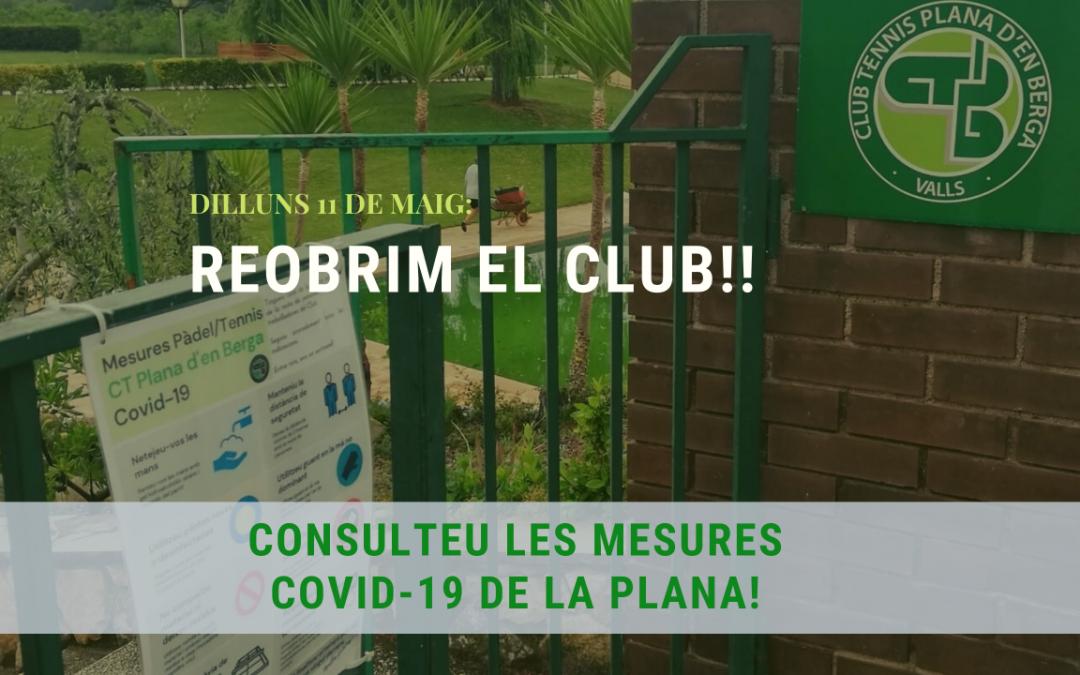 Dilluns 11 de maig: REOBRIM EL CLUB!