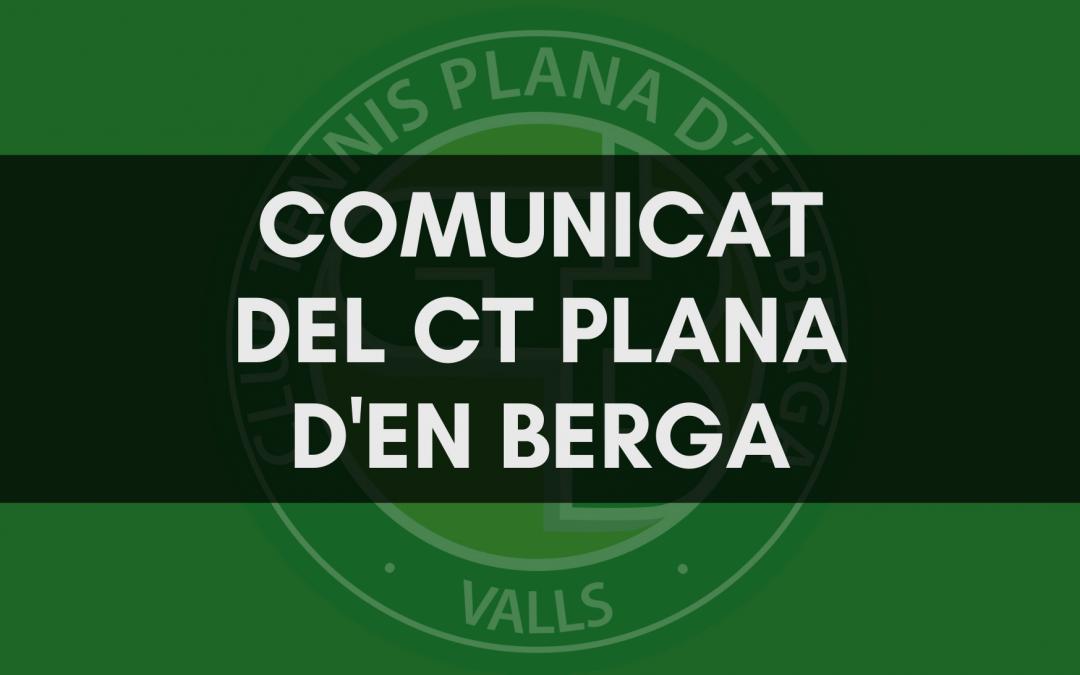 Comunicat del CT Plana d'en Berga